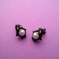 Cute Cubby Penguin with Pearls Earrings