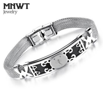 MNWT Men 12 Constellations Stainless steel Bracelets Man 2018 New Fashion  Bracelet Men Personality Vintage Fashion Jewelry