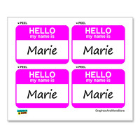 Marie Hello My Name Is - Sheet of 4 Stickers
