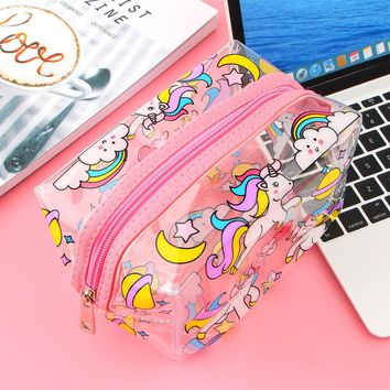 Unicorn Transparent Pencil Case Kawaii School Supplies Stationery Gift Cute Pencil Box Office School Tools Pencil Cases