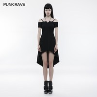 Punk Casual Black Sexy Goth strapless slim dress with rope necklace Summer Visual Kei Party Vintage OPQ246