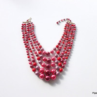 Multistrand Cranberry Necklace Japan 1950s Glamour Chunky Graduated Bead Necklace Red Purple Moonglow Beaded Necklace