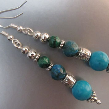 "Sterling Silver AA+ Sleeping Beauty Turquoise, Untreated Chrysocolla, Malachite and Silvertone Bead Dangle Earrings - 2 5/8"" -9.79g"