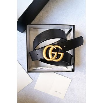 GUCCI classic men and women personality versatile simple smooth buckle belt