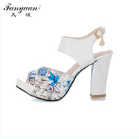 2015 Big Size 32-43 Fashion Square Heel sexy Ankle Strap Summer Mix-color Sandal Shoes For Women  Sandal Hot Sale