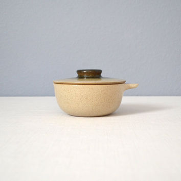 Vintage Heath Ceramics Sea and Sand Lidded Small Baker with Handle - As Is