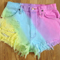 Tie dye high waisted shorts