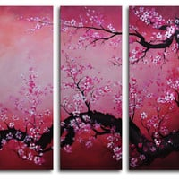 My Art Outlet Cochineal Black Trunked Cherry 5 Piece Painting Print on Canvas Set