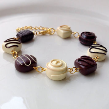 Chocolate Bracelet, Polymer Clay Miniature Food Jewelry [jewellery] Gift Idea Gold