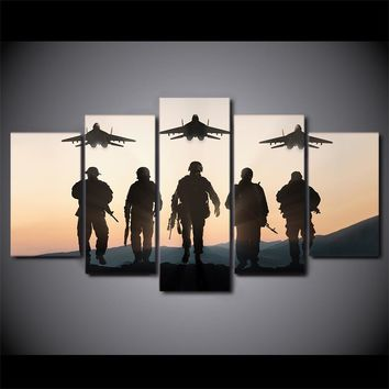 5 piece panel wall art Sunset American soldiers planes
