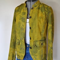 "Gold Denim JACKET - Golden Sunshine Hand Dyed Upcycled Sonoma Denim Jacket - Womens Size Small (36"" chest)"