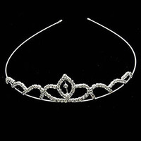 Tiara Rhinestone Wedding Formal Metal 4 3/4 Inch Diameter 1 1/4 Inch Tall