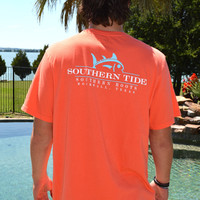 Southern Tide Southern Roots Custom Tee- Hot Coral