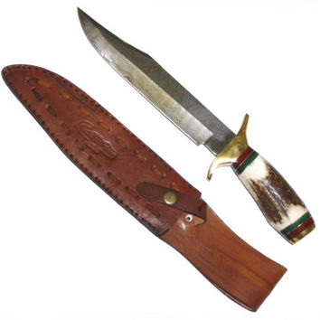 DAMASCUS Bowie Hunting Knife