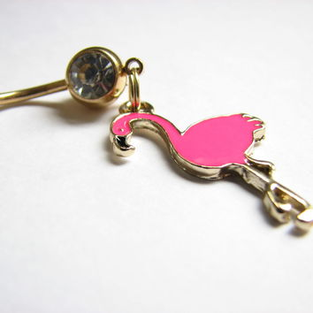 Pink Flamingo Navel Piercing on Gold Titanium Belly Bar