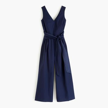 Wrap-tie jumpsuit in stretch poplin : Women jumpsuits & rompers | J.Crew