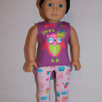 owl print, high low tank top, pink owl print leggings,18 inch doll clothes, American Girl, maplelea