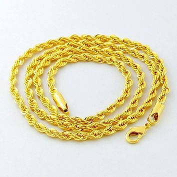 New Fashion Mens Women Gold Filled 5mm Twisted Rope Chain Necklace 20 24 28 Inches #45