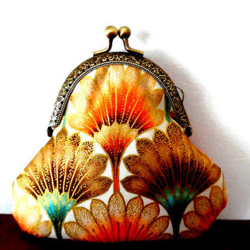 Irridescent tulp flower purse / aqua / nouveau / spice orange / sparkly gold metallic / bronze / cotton / gift / wallet / small clasp purse