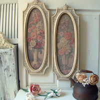 Antique White Vintage Wall Hangings, HOMCO Wall Plaques with Floral Art Print, Shabby Chic, French Cottage Decor, Floral Bouquet Framed Art
