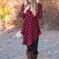 We Wear Patches & Plaid Cardigan-Red