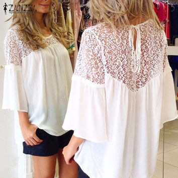 Plus Size  European Summer Style Women Blusas Chiffon Patchwork Lace Solid Shirts Casual Loose White Blouses Tops