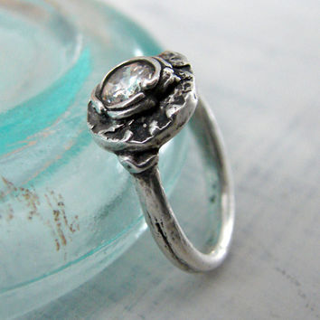 Organic Silver Crystal Engagement Ring