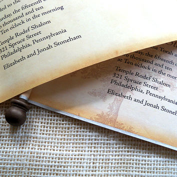 Vintage rustic Bar Mitzvah invitation scroll