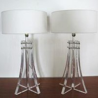 60s Mid Century MODERN Pair LUCITE TABLE LAMPS by fabulousmess