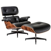Windsor Lounge Chair and Ottoman in Rosewood and Italian Black Leather