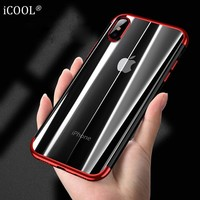 iCOOL for iPhone X Case iPhone 10 Ultra Thin Transparent Plating Shining Case Soft TPU for iPhone 6s 7 8 Plus Phone Cover