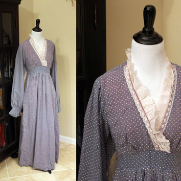 Vintage 1970's Lilac Polka Dot Maxi Dress + Peasant / Bohemian Style + Lace Trim + SMALL