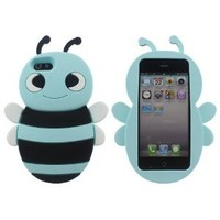 Lovely Blue 3D Bee Shape Soft Silicone Gel Back Case Cover for Apple iPhone 5