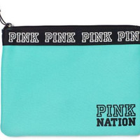 NEW Victoria's Secret Pink Nation Bikini Bag Travel Pouch NWT Color green/ blue