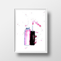 Lip gloss printable watercolor painting pink lipstick decor makeup fashion girl wall art vanity decal bathroom print fashion illustration