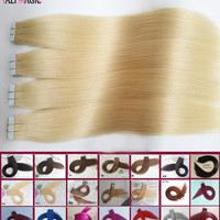 Tape Hair Extensions 40 Pieces Skin Weft Hair Extensions Tape In Human Hair #613 Bleach Blonde 100g 20''22''24''26inch Cheap HOT