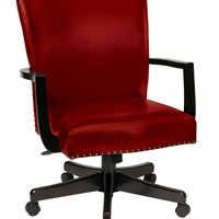 Office Star Morgan Managers Chair with Thick Padded Bonded Leather Seat and Back with Steel Reinforced Wood Base and Dual Wheel Carpet Casters (Crimson Red) [BP-MGTC-EC19]