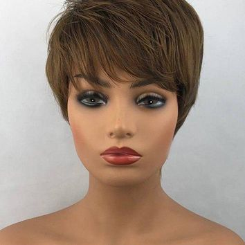 Short Side Bang Layered Straight Heat Resistant Synthetic Fiber Wig