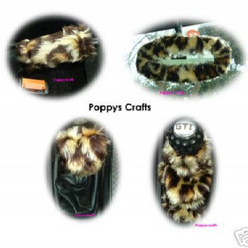 Leopard Animal print car accessories set Gear knob gaiter mirror handbrake covers faux fur furry fuzzy fluffy cute car wild cheetah