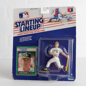 Vintage 1989 Kenner Toys Mark McGwire Baseball Card and At Bat Figurine, Oakland Athletics