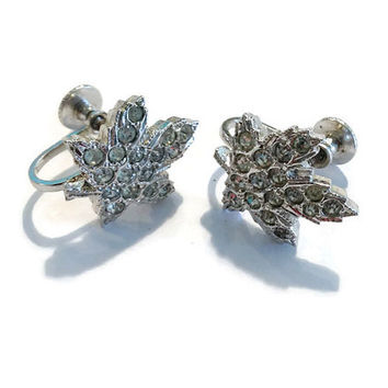 Vintage Earrings / Signed Keyes Maple Leaf Pave Rhinestone and Silver Tone Screw Back Earrings