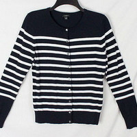 Coldwater Creek M Petite MP size Cardigan Sweater Black Ivory Stripe All Season