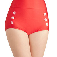 ModCloth Nautical High Waist Merry Mariner Swimsuit Bottom in Rouge