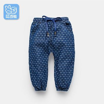 Dinstry Spring autumn baby jeans fall baby toddler baby pants Casual Kids Trousers