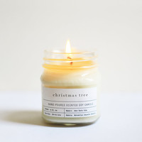 Christmas Tree Scented Mason Jar Candle 100% Soy - Vintage Style Apothecary Label – Rustic Bohemian Hand-poured Handmade - Lovely Gift