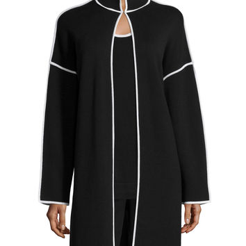 Long Topper Jacket with Contrast Trim, Size:
