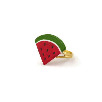 Watermelon slice fancy ring, red and green gourmand ring, painted plastic fruit adjustable ring (recycled CD)