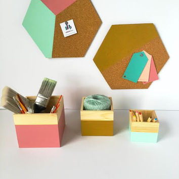 Hexagon Cork Boards - Custom Dorm Room Decor - Custom Color Cork Boards - Back to School - College Student Gift - Office Organization