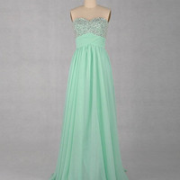 Sweetheart Sleeveless Floor-length Chiffon Prom Dresses With Paillette Beading