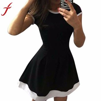 Summer Patchwork Slim A line Casual Bodycon Vintage Evening Party Short Dress